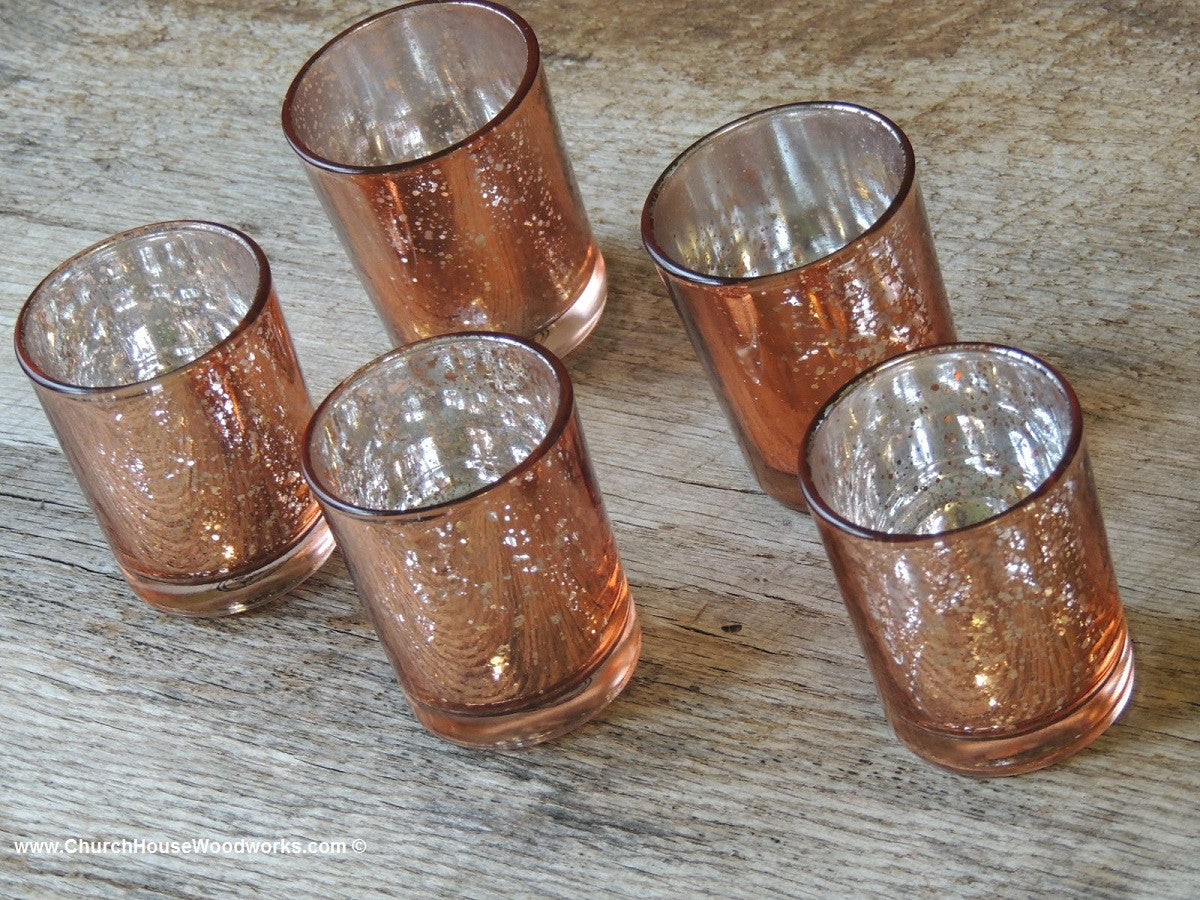 Rose Gold Mercury Glass Votive Candle Holder for Rustic Weddings Events Elegant Weddings