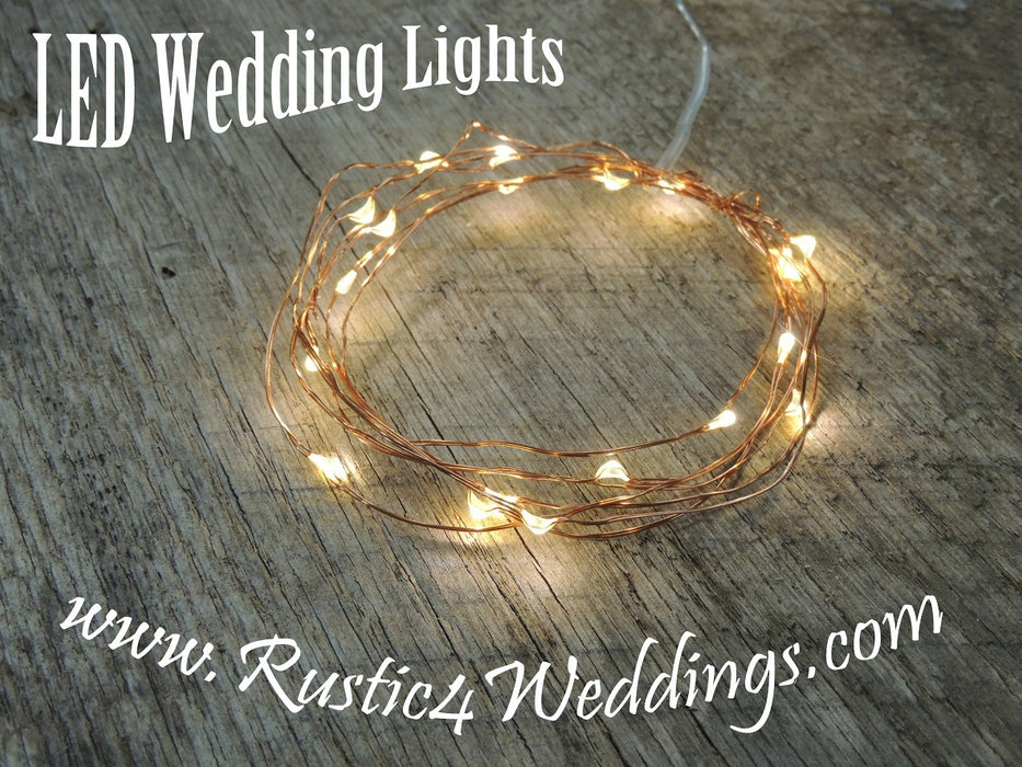 Warm White On Copper Wire Battery Fairy Lights - LED Rustic Wedding Lights