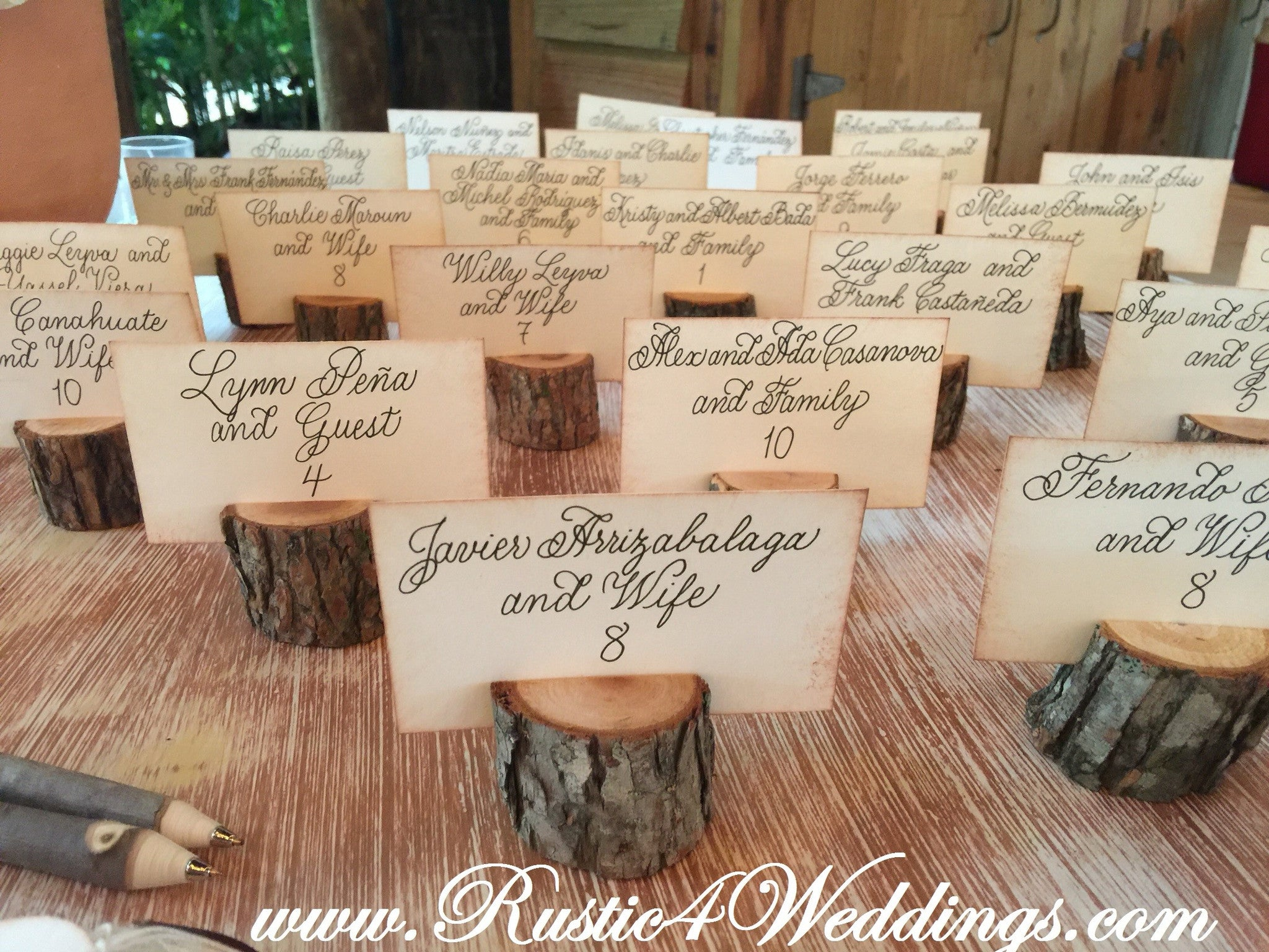 12 Small Rustic Place Card Holders