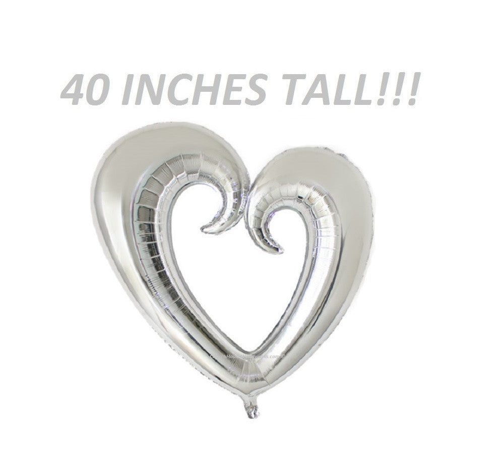Giant 40 Inch Tall Heart Balloon Silver