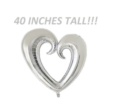 Giant Huge Silver Heart Balloon for weddings showers receptions parties bridal