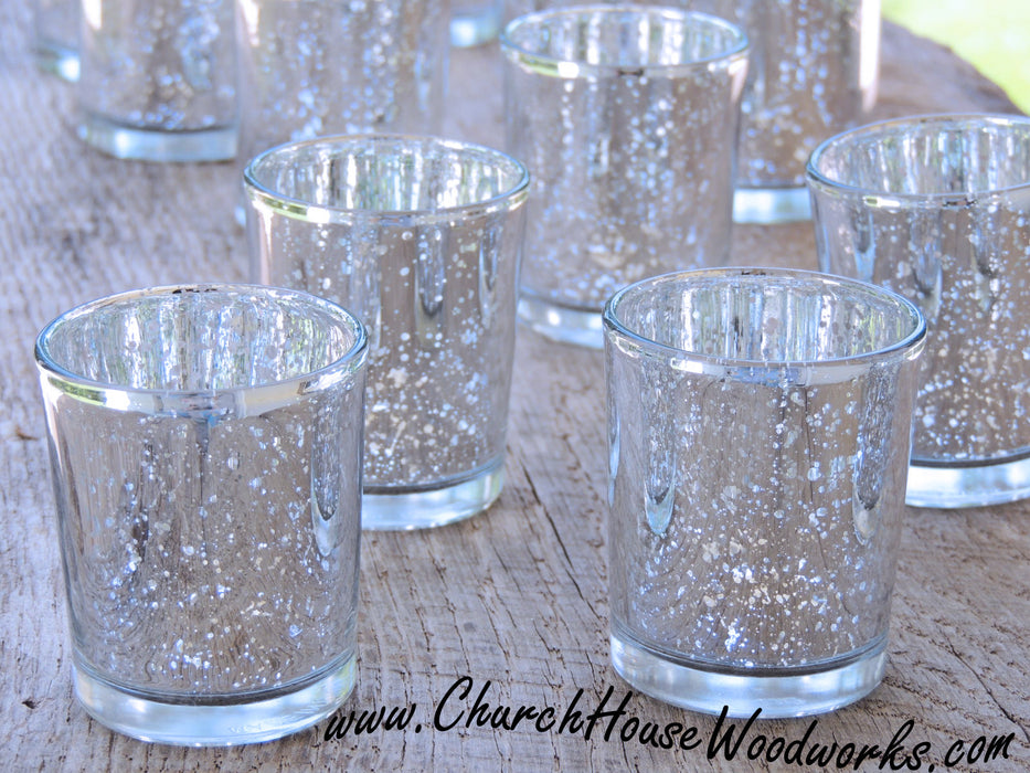24 Silver Mercury Glass Votive Holders