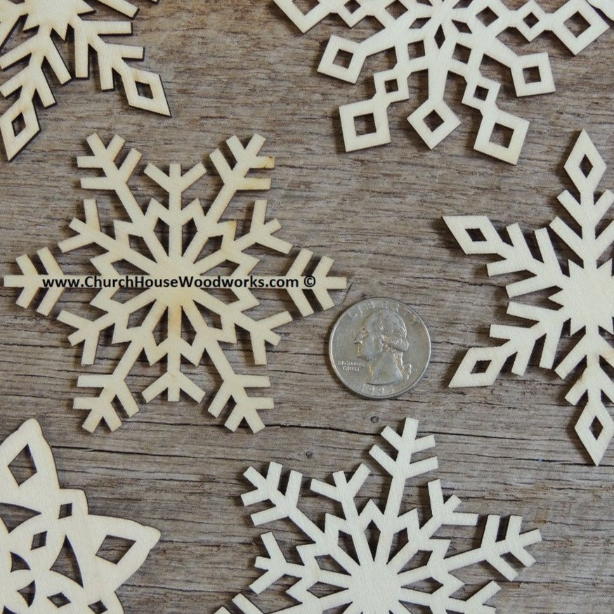 3  inch Snowflake Wood Christmas Ornaments- 10 pack Style MIX