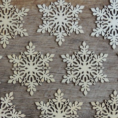 3 inch Snowflake Wood Christmas Ornaments- 10 pack Style 1