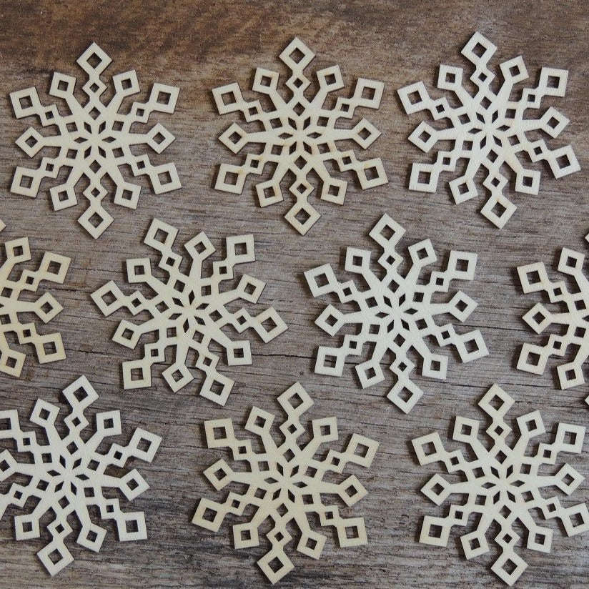 3 inch Snowflake Wood Christmas Ornaments- 10 pack Style 2