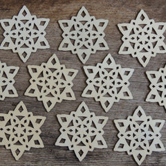 3  inch Snowflake Wood Christmas Ornaments- 10 pack Style 3