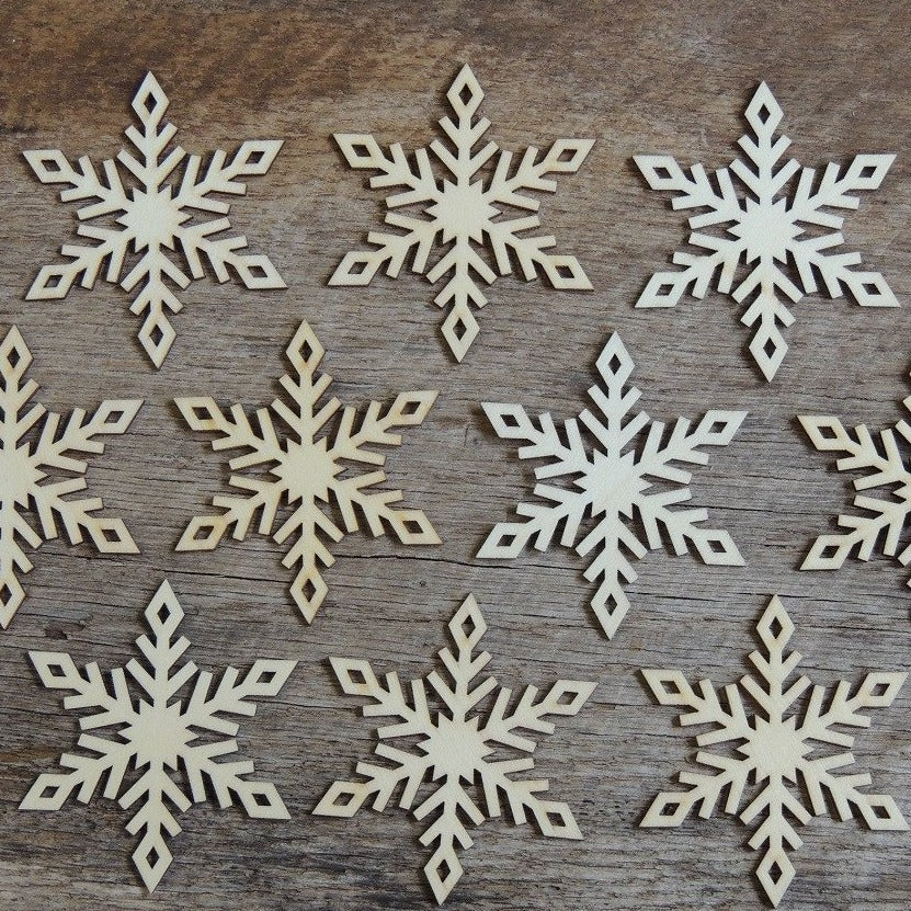 3  inch Snowflake Wood Christmas Ornaments- 10 pack Style 4