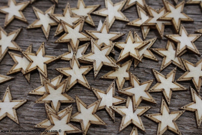 50 qty 3/4 inch Stars with BORDER Tiny Laser Cut Mini Wood Stars .75 inch - Rustic Decor - Wooden Stars- DIY Craft Supplies 19mm Wood Flag