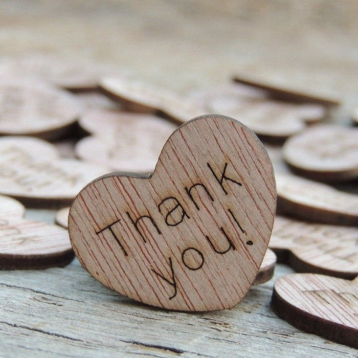 Thank you! Wood Hearts - 100 ct - 1 inch