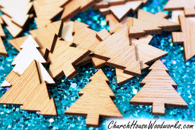 Mini Wooden Christmas Tree Ornaments by ChurchHouseWoodworks.com