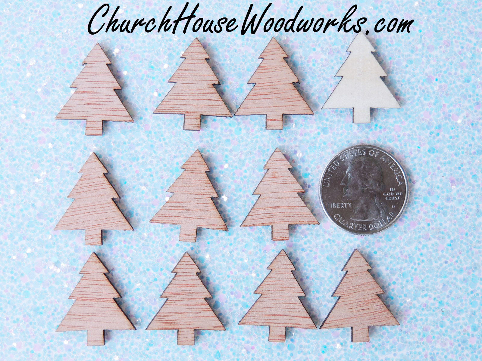 Mini Wooden Christmas Tree Ornaments Set Of 25 For Sale Church House Woodworks