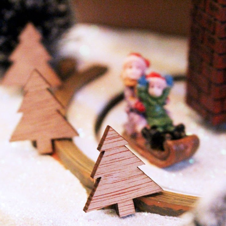 Small wooden christmas tree ornaments - Mini Wooden Christmas Tree Ornaments