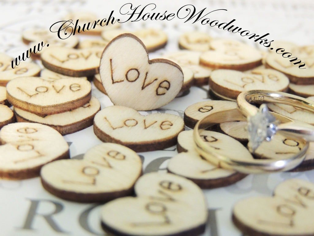 Wood Burned Love Hearts- Pack of 100