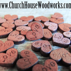 100 Mini Love Wood Hearts