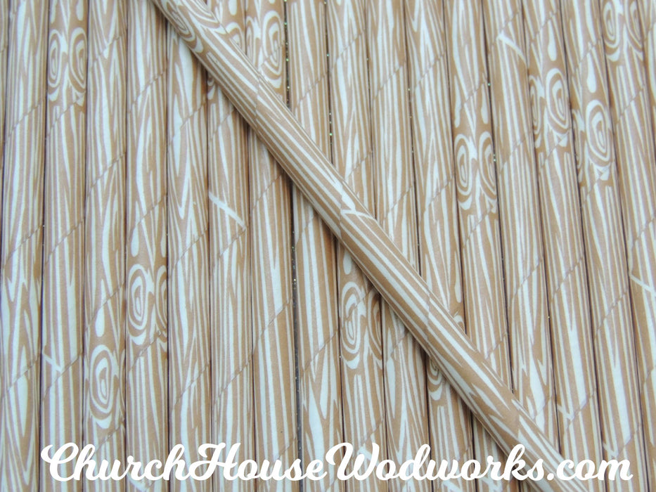 Rustic Tree Bark Wood Grain Paper Straws