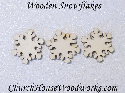 mini small 1 inch wood snowflake for diy Christmas ornament supplies crafts wooden shapes