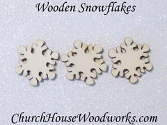 50 Mini Wooden Snowflake Christmas Ornaments 1 inch