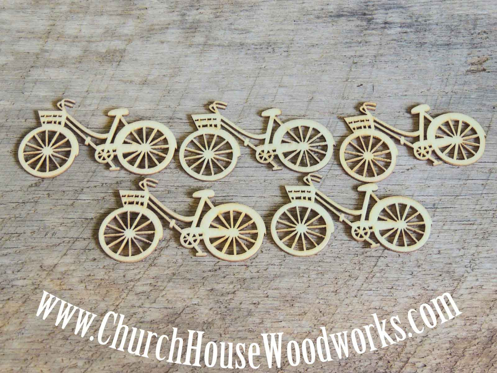 Wooden Bicycle pack of 5 Die Cut- Use for sewing, crafts, scrap booking, embellishments, gifts, Confetti Table Scatter Decorations