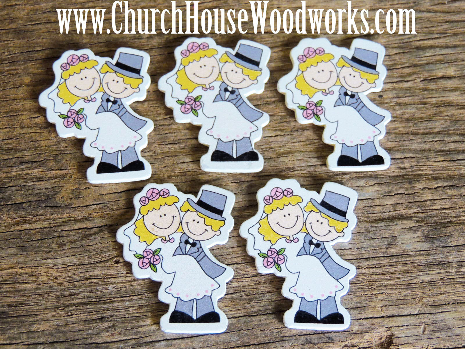 Bride Groom Wood Table Scatter- Pack of 5- DIY Crafts