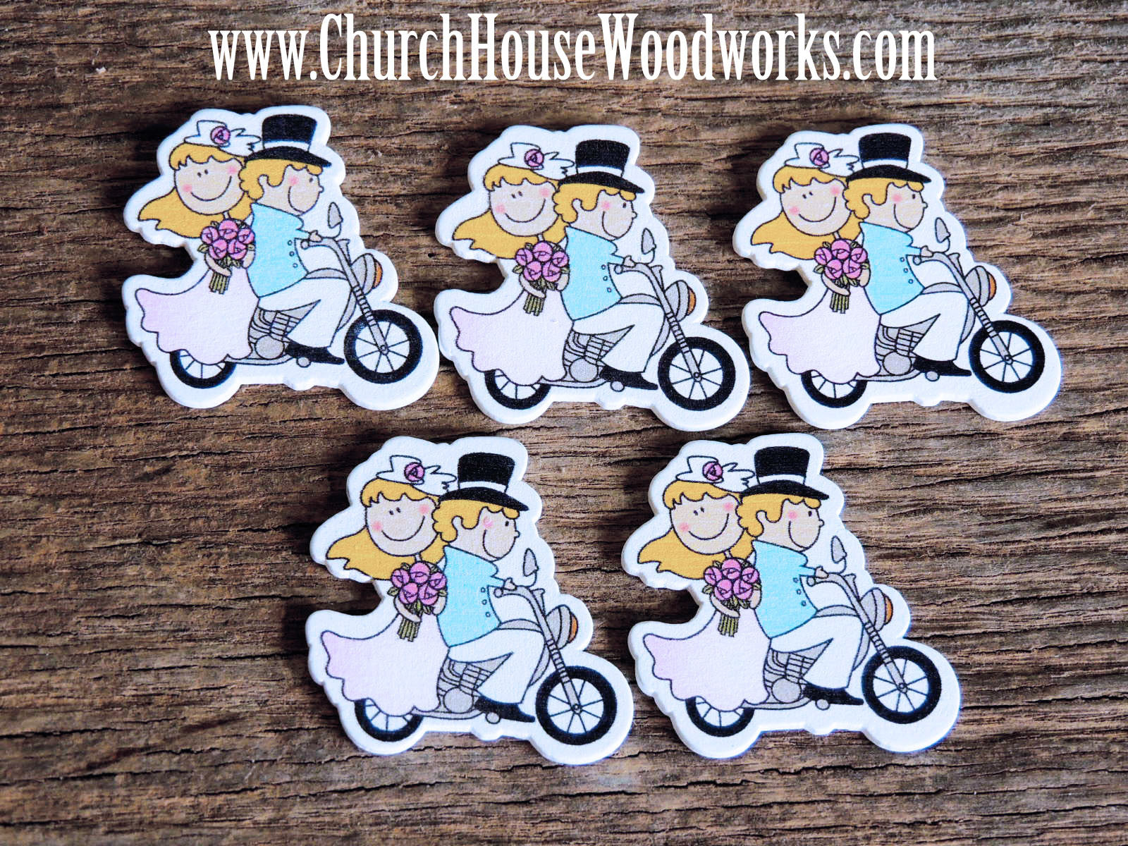 Bride Groom On Motorcycle Wood- Pack of 5-DIY Crafts