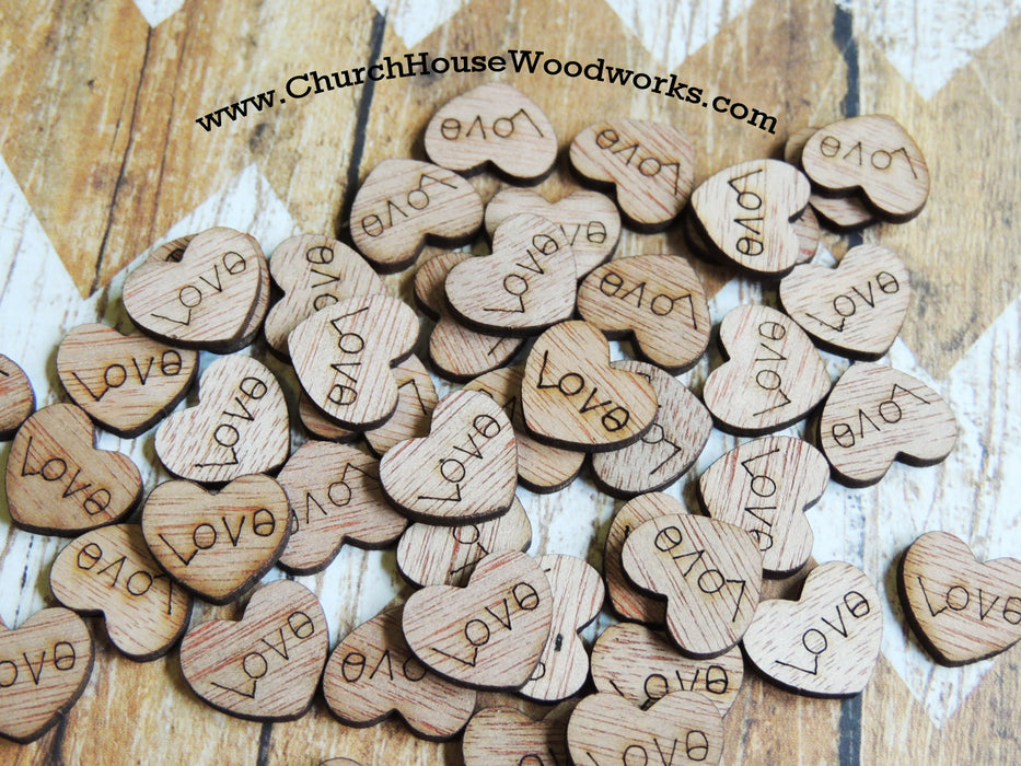 Tiny Love Wood heart confetti for wedding table decorations