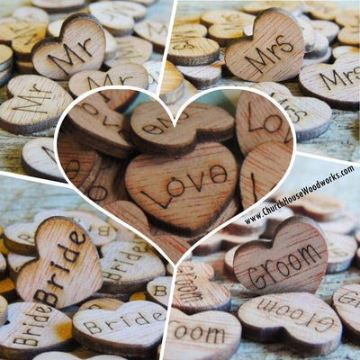 500 Tiny Wood Engraved Hearts. Get them all and SAVE!!!  You will receive the following amounts of each word. 100 Love wood hearts 100 Mr wood hearts 100 Mrs wood hearts 100 Bride wood hearts 100 Groom wood hearts