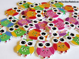 Small Owl Wood Buttons pack of 5