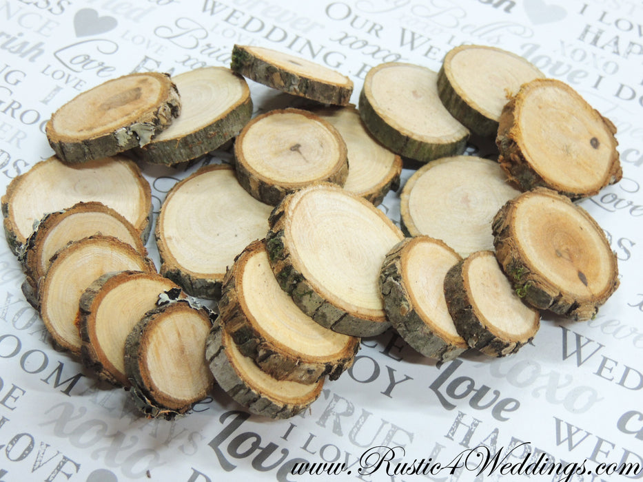 100 Wood Slices - 1 to 1.5 inch diameter