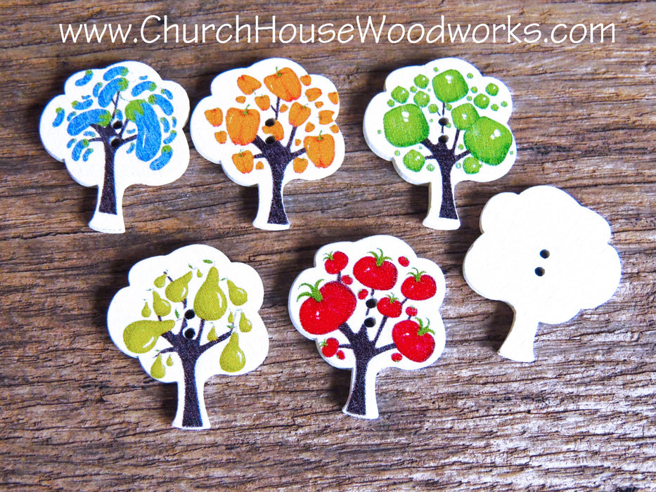 Fruit Tree Wood Buttons pack of 5