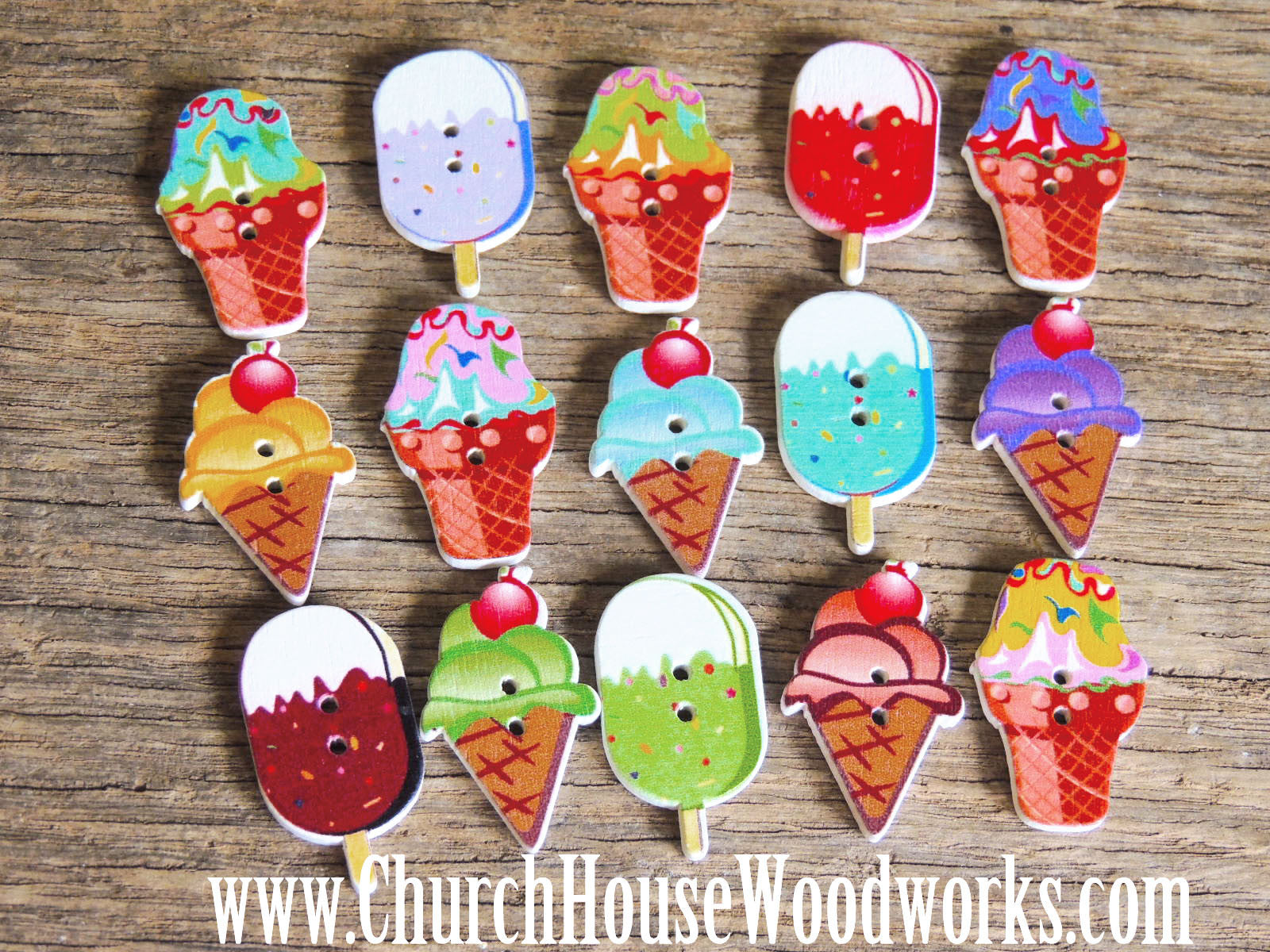 Ice Cream Wood Buttons- Pack of 5