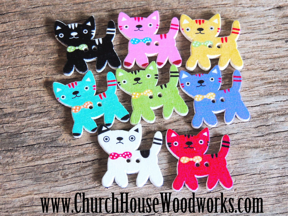 Kitty Cat Wood Buttons- Pack of 5