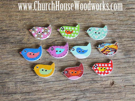 Little Bird Wood Buttons- Pack of 5