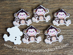 Monkey Wood Buttons pack of 25
