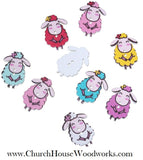 Sheep Wood Buttons pack of 5