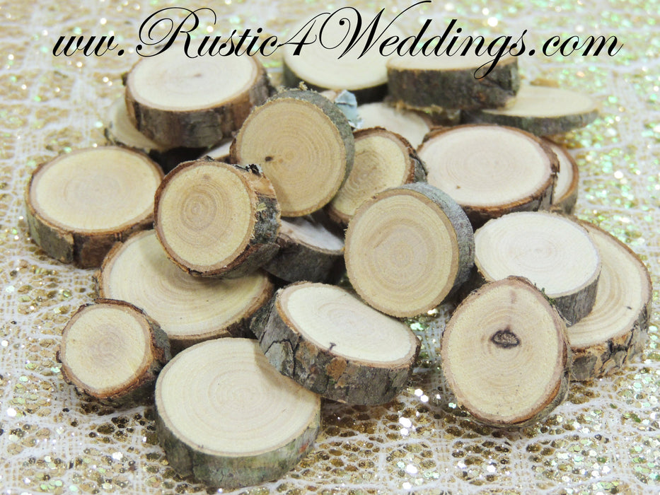 100 qty- Tiny Wood Slices .5 to 1 inch