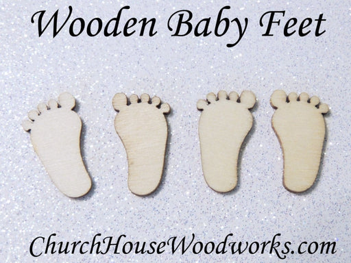 tiny wood baby feet for baby shower decorations
