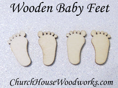 Tiny Wooden Baby Feet
