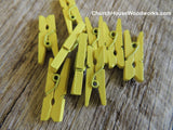 Yellow Green Wood Clothespins by ChurchHouseWoodworks.com Great for weddings, bridal showers, baby showers, birthday party events, DIY crafts and projects.
