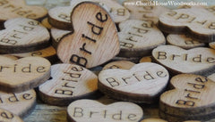 Bride Wood Hearts- Wood Burned- Pack of 100