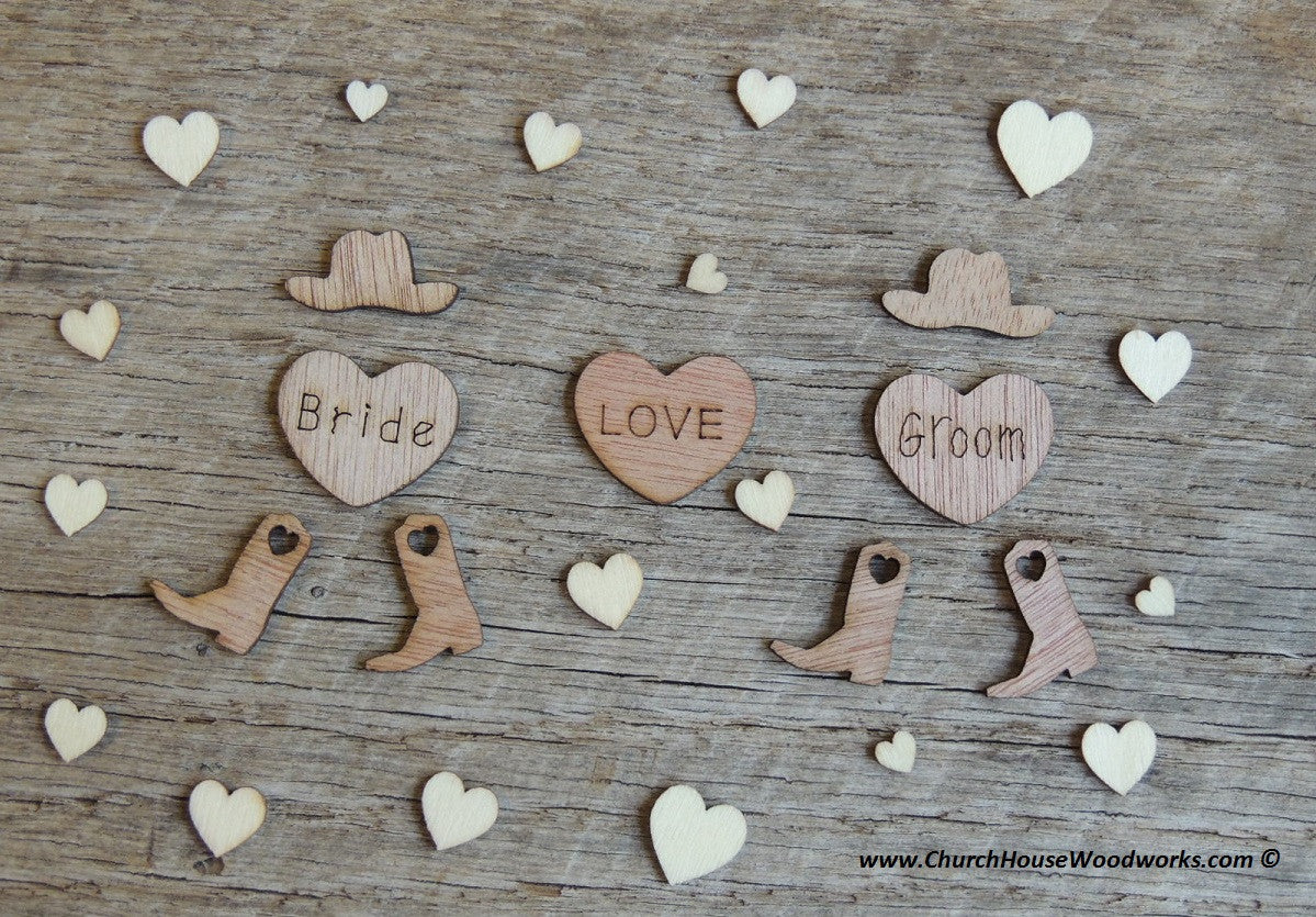 two hearts one love wedding decorations cowboy wedding decor small wooden cowboy hats confetti 8138