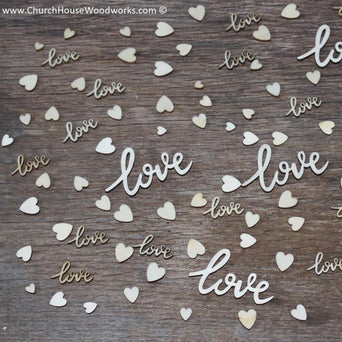 100 piece mix love cursive words and hearts