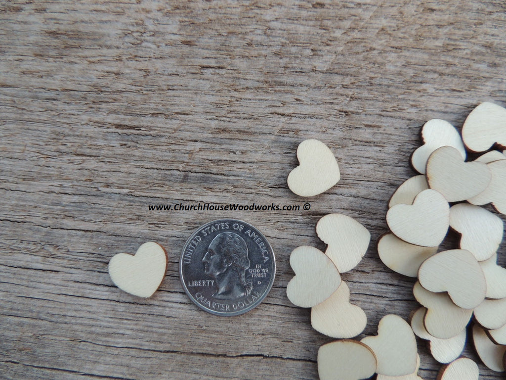 tiny light wood hearts wooden heart wedding decor craft pieces