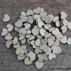 Light Wood Hearts- 100 ct - 1/2 inch