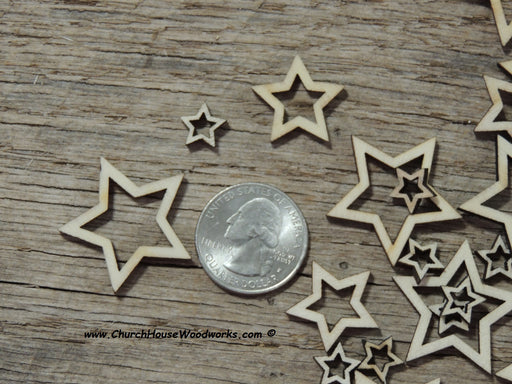 50 Small Hollow mix Laser Cut Wood Stars, Wooden Stars - Rustic Decor- Flag Making Wooden Stars- DIY Craft Supplies Shapes