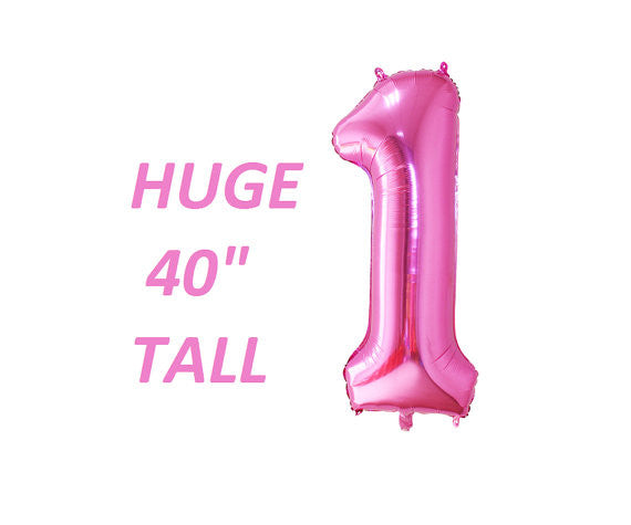 Pink number one 1 first birthday party balloons huge giant 40 inch tall