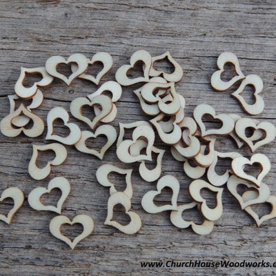 Blank Wood Hollow Hearts for Rustic Weddings