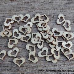 Hollow Wood Hearts - 50 ct - 1/2 inch