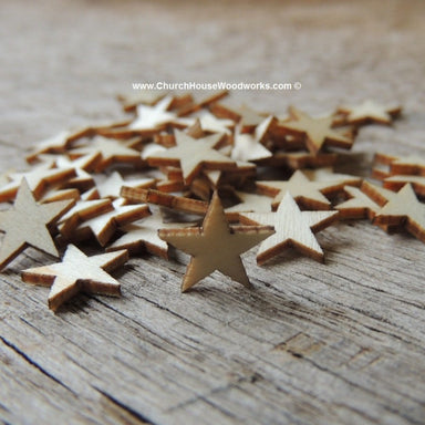 50 Mini Wood Stars Very Small 1/2 inch size