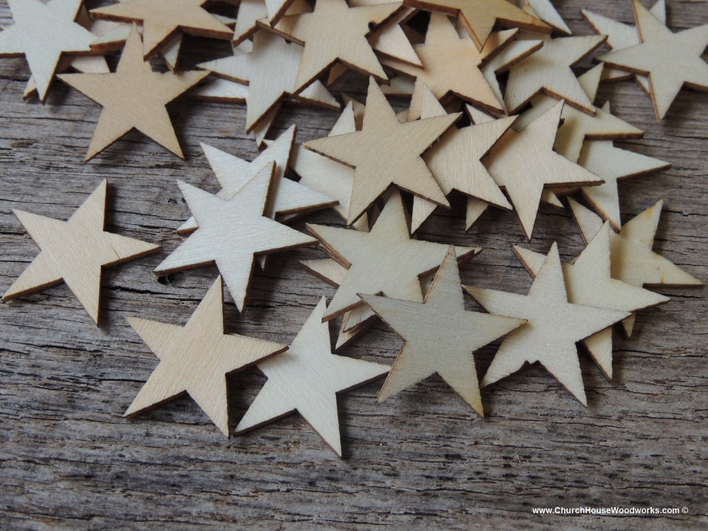 50 Little Wood Stars Very Small 1-1/4 inch size