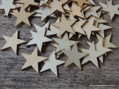 50 Little Wood Stars Very Small 3/4 inch size